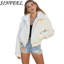 SINFEEL Faux Lambswool Zipper Pocket Oversized Short Jacket Coat Winter Warm Women Autumn Outerwear Fur OverCoat