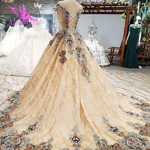 Image 4 - AIJINGYU Abiti Da Sposa Arabia Saudita Abiti In Raso Brillante A Buon Mercato Nei Pressi di Me Dellabito di Sfera Del Merletto Dubai Abito Da Sposa Nuovo 2021 2020