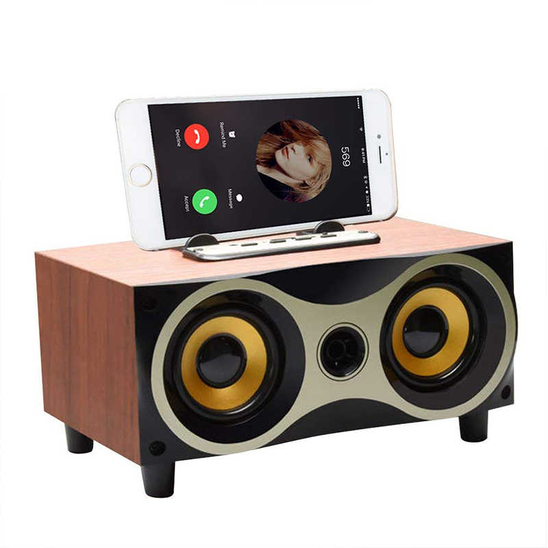 Настольный портативный деревянный беспроводной динамик сабвуфер стерео Bluetooth динамик s поддержка TF MP3 плеер с fm-радио, держатель телефона