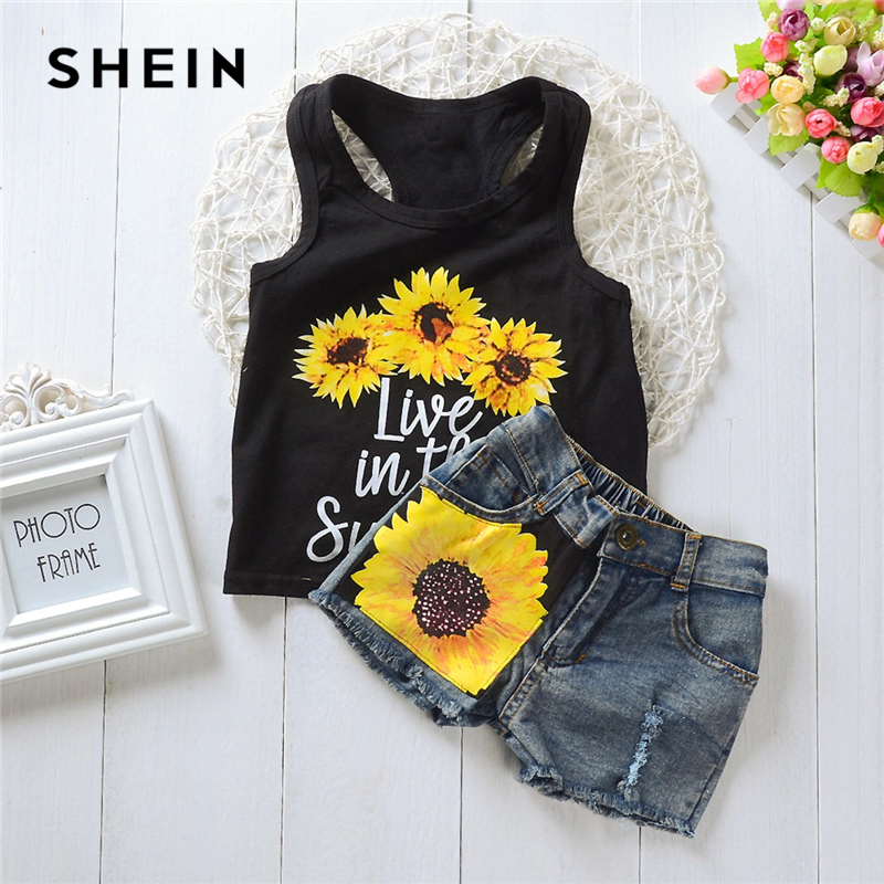 SHEIN Kiddie Letter And Sun Flower Print Vest With Denim Shorts Girls Sets 2019 Summer Sleeveless Ripped Cute Kids Clothes Sets retro rose print letter sleeveless fit and flare dress