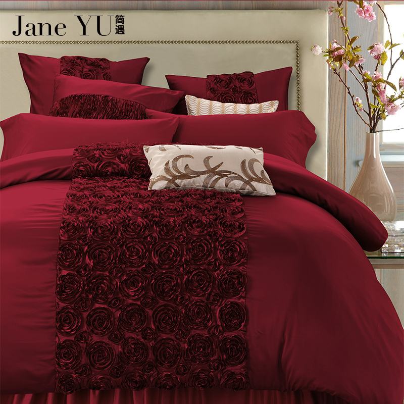 JaneYU 4/6-Pieces Handwork Rose Shaped Luxury Wedding Bedding Set King Size Queen Solid Color Bed Set Duvet Cover Bed Sheet