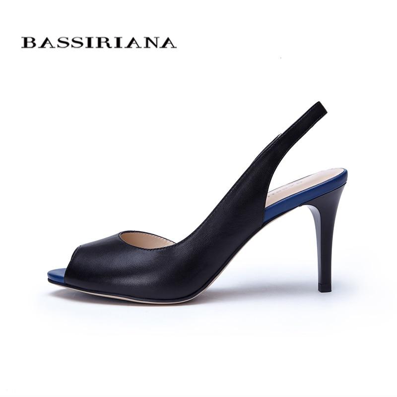 여성을위한 높은 얇은 발 뒤꿈치 샌들 기본 모델 정품 가죽 캐주얼 35 40 사이즈 샌들 여성 들여다 발가락 무료 배송 bassiriana-에서하이힐부터 신발 의  그룹 3