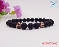 Hot Rose Gold Color Buddha Bracelet Natural Stone Matte Black Onyx Beads Charm Elasticity Men And