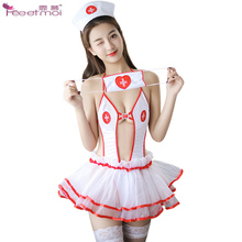 Nurse Cosplay Halter Women Sexy Lingerie Set Open Crotch Sexy Teddy Open Back Erotic Lingerie Porno Costumes Sexy Bodysuit Dress