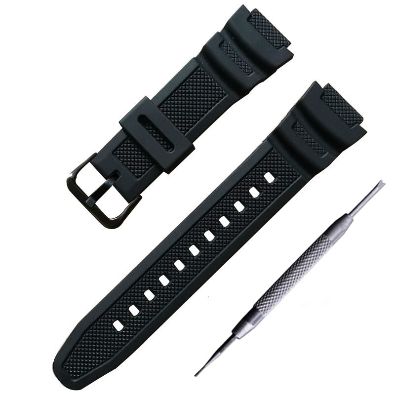 Watchband Convex PU Strap 18*25mm Rubber Silicone Bracelet For AQ - S810W AE-1000 1200w Sgw-300 400h Mrw-200h
