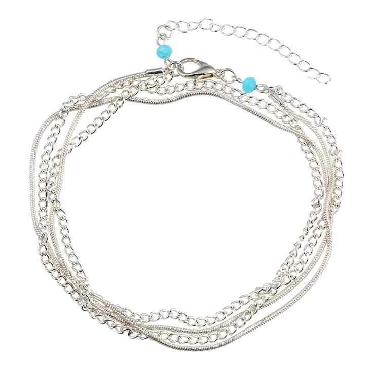Высококачественный многослойный Серебряный браслет для женщин, женские браслеты на лодыжке, Женский халиал, ножной браслет, синие Бусины, очаровательные пляжные сандалии на босую ногу