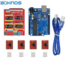 UNO R3 Board + CNC Shield Expansion Board +4pcs A4988 Stepper Motor Driver with Heat Sink for Arduino 3D Printer Diy kit DRV8825 стоимость