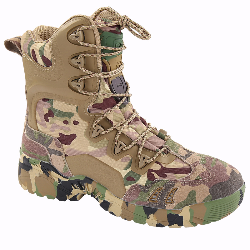Breathable CP Camouflage Combat Boots Military Hunting Tactical Boots Men s High Top Sneakers Hiking Camping