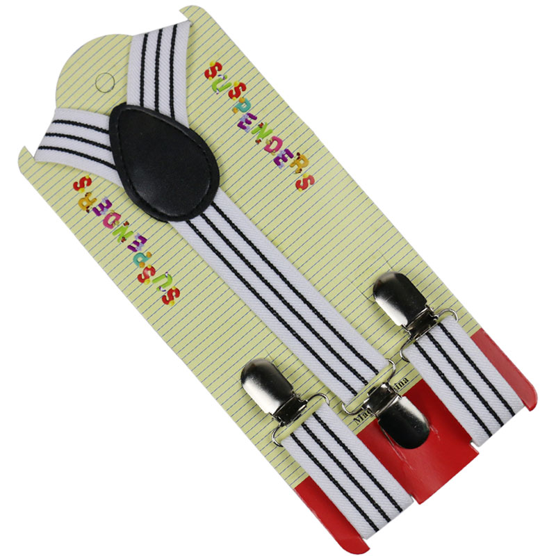 Winfox Fashion Black Striped 3 Clip-on Y-Back Braces Elastic Kids Suspenders Baby Boys Suspenders 2.5cm Wide Suspenders