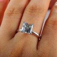 Белый топаз Обручение кольцо 2.5 карат Принцесса Cut 14 К Белое золото свадебные украшения
