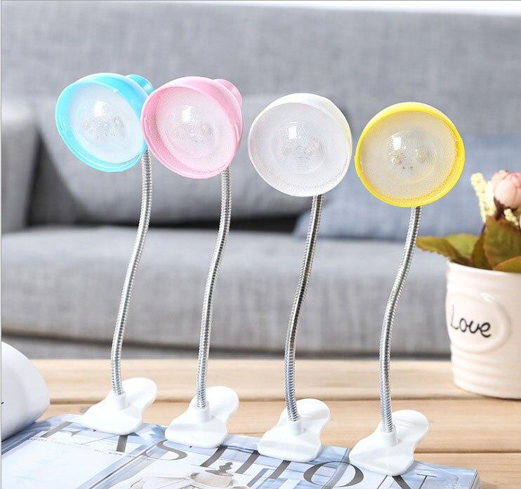 Mini LED Flexible Goose-neck <font><b>Clip</b></font> Book Lamp Night Light Bedside Lamp Eye Protection Energy Saving Table Lamp Kids Gift Light