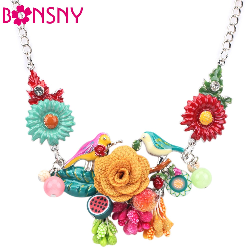 Bonsny Statement Choker Enamel Flower Necklace Alloy Bird Metal Chain Pendants 2016 New Jewelry For Women Charm Accessories