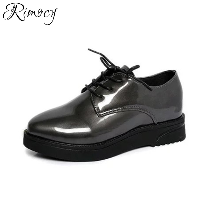 Rimocy patent leather lace up women ankle boots fashion 2017 autumn winter comfortable heels platform shoes woman casual booties amazing designer booties patent leather patchwork ankle boots chinel high heels zipper autumn motorcycle boots for women pumps