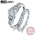JQUEEN 100% 925 Sterling Silver Wedding Rings For Women Luxury 1.25 Carat 5*5mm cz Engagement sterling silver couple ring