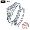 Jqueen 100% 925 anillos de bodas de plata para las mujeres de lujo 1.25 carat 5*5mm plata de ley de compromiso cz anillo de pareja
