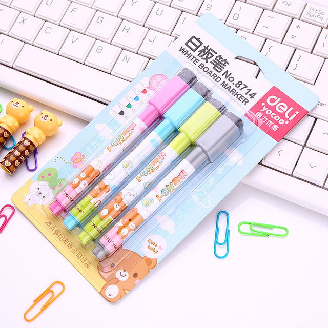 4 PC/Set Cute 4-Color Mini Dry Erase Marker Whiteboard Marker Pen with Magnet & Brush for Shcool Stationery & Office