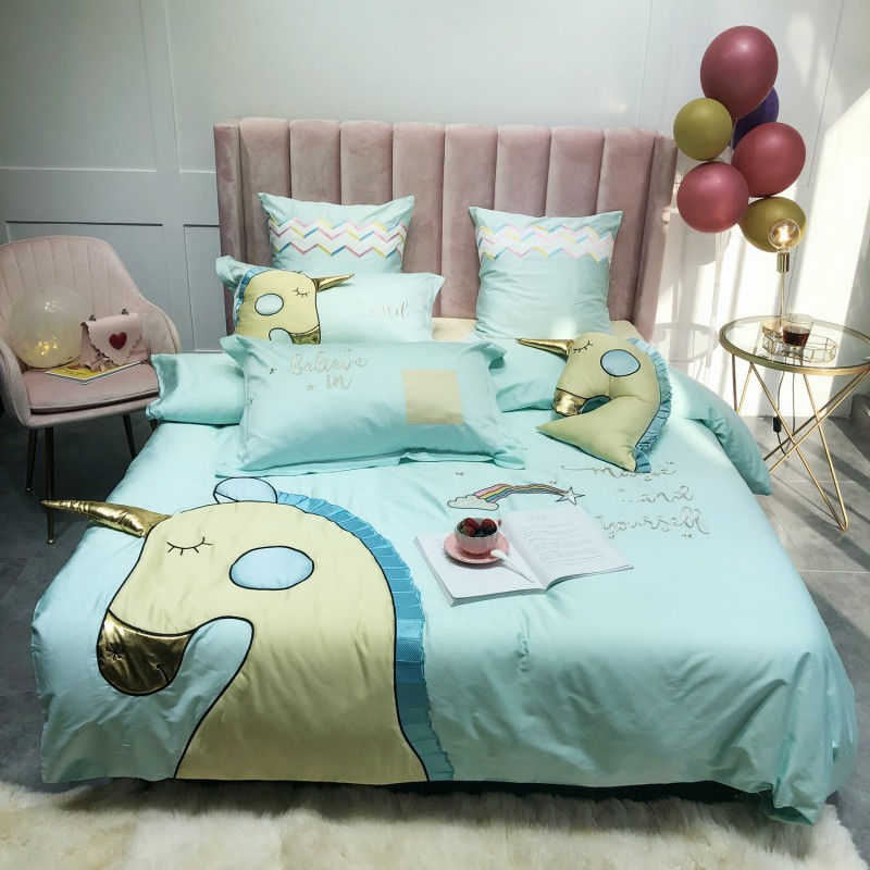 Unicorn Bedding Paste embroidery Bedding Set Cartoon Unicorn Elephant Egyptian Cotton Ultra Soft Duvet Covers Bed sheet Pillows Unicorn Bedding Paste embroidery Bedding Set Cartoon Unicorn Elephant Egyptian Cotton Ultra Soft Duvet Covers Bed sheet Pillows