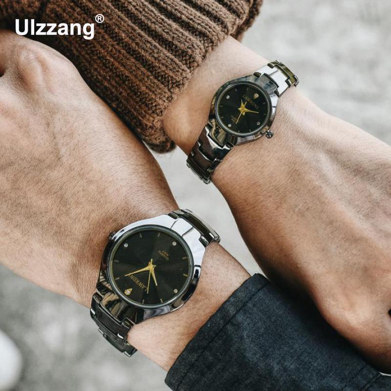 Fashion Cool Glitter Lover's Watches Crystal Full Steel Women Men Dress Leisure Quartz Wristwatch Sweet Couple Women Men Watch