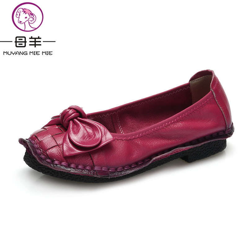 2018 Fashion Handmade Genuine Leather Women Shoes Woman Casual Flat Shoes Comfortable Loafers Female Bow Shoes Women Flats 2018 new genuine leather flat shoes woman ballet flats loafers cowhide flexible spring casual shoes women flats women shoes k726