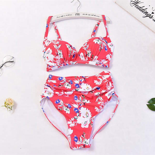 510981ae36 Red Floral Print Plus Size Bikinis Women Swimwear Large Size High Waist Two  Piece Swimsuit Women Ruched Bathing Suits Monokini