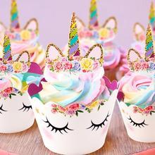 Suministros de fiesta unicornio Arco Iris Cupcake Wrappers pastel Topper unicornio cumpleaños fiesta pastel decoraciones niños Baby Shower unicornio