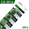 TD 5Pcs 3V Lithium Coin Cells Button Battery Batteria DL2016 KCR2016 CR2016 LM2016 BR2016 16%off