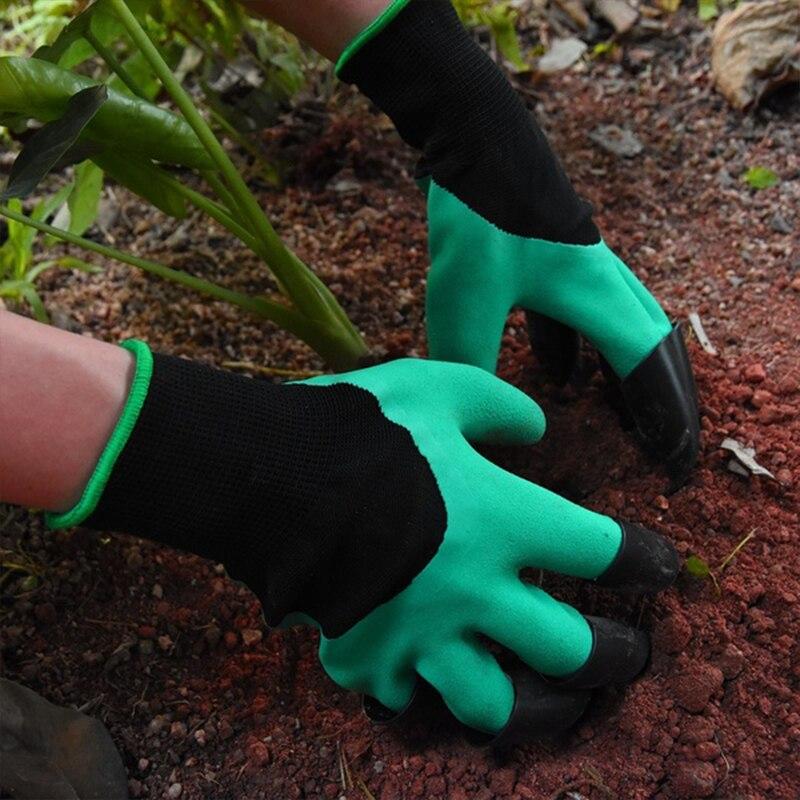 2 estilo 4 mão garra abs plástico jardim luvas de borracha jardinagem escavação plantio isolamento à prova dwaterproof água casa vivendo gadgets