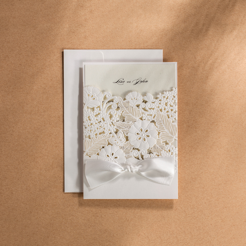 Laser Cut White Wedding Invitations Kit Blank Paper Printing Flower Lace Invitation Cards Set 50 20 12 100 Lot Free Print square design white laser cut invitations kit blanl paper printing wedding invitation card set send envelope casamento convite