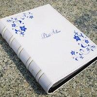 Blue Flower Pu Leather Vintage Photo Album for 200 Photos of 6 Inch 4D Family /Wedding / Graduation /birthday Gift Photo Album