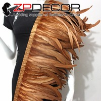 Tight! ZPDECOR Wholesale 1yard/150pcs 30 35CM Brown Chicken Coque Feather Fringe Trim for Carnival Costume Decoration