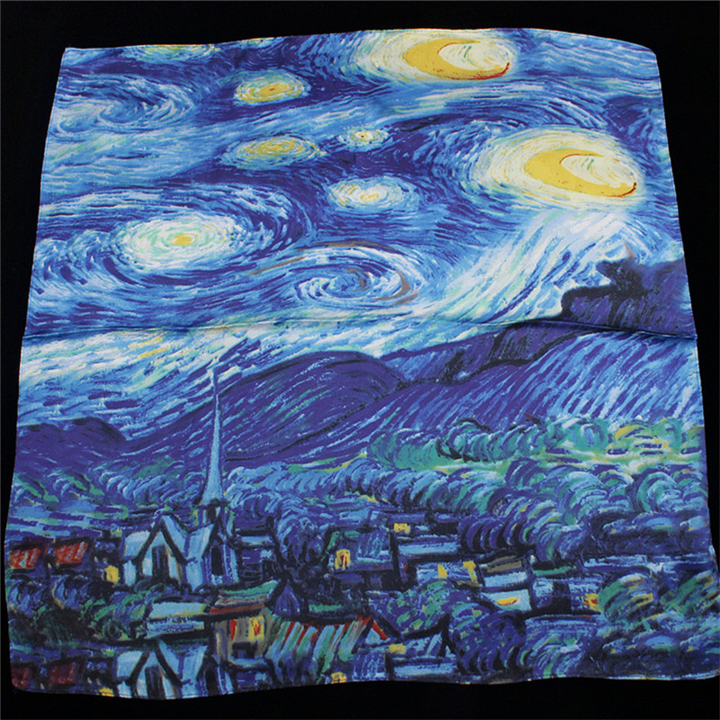 Van Gogh's Oil Painting Starry Sky Silk Scarf Women Scarf Fashion Silk Feelling Square Scarves Head Neck Tie Band Neckerchief