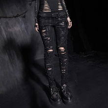 PUNK RAVE Skeleton Black Cowboy Hand-painted Broken-hole Trousers Pants lulu Leggings K-141