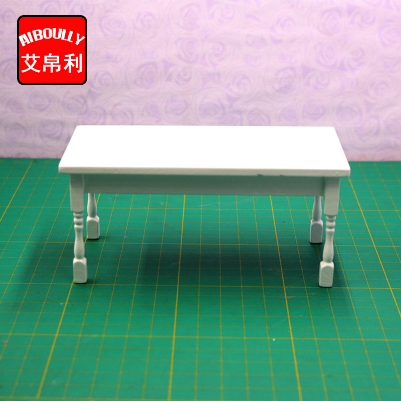 1:12 Dollhouse Miniature Furniture Wave-Edged Wooden Coffe/End White Table Doll House Accessories toy ...