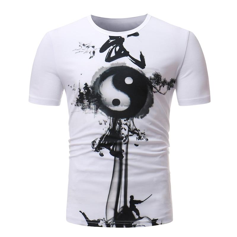 100% Cotton Irregular splicing Tai Chi printing TShirt 2018 Mens T-shirts Summer Skateboard Tee Boy Hip hop Skate Tshirt Tops