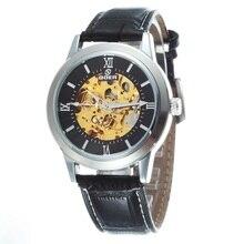 GOER марка мужские механические часы Автоматические спорта водонепроницаемый наручные часы Мужчины световой Скелет кожаные модные часы