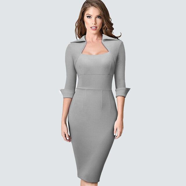 Autumn Professional Women Formal Sheath Bodycon Slim Elegant Work Business Office Lady Dress 2