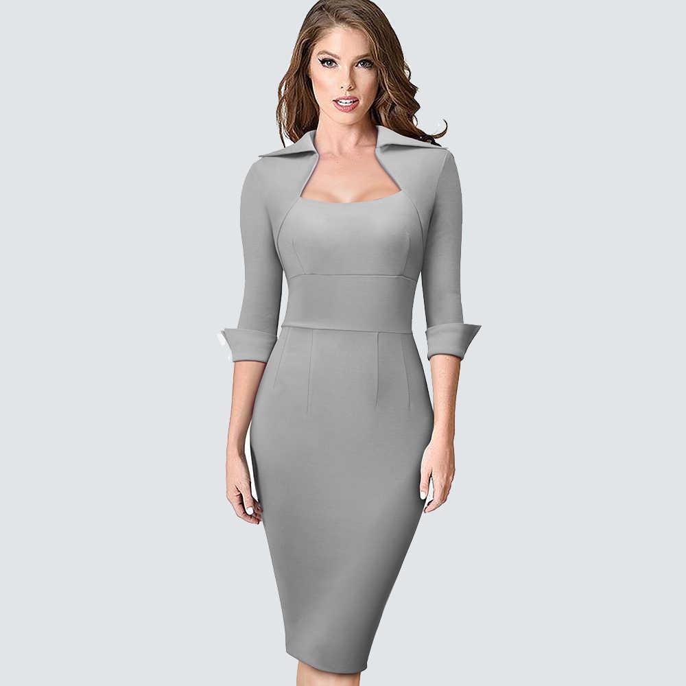 秋の女性の正式なシースボディコンスリムエレガントな仕事ビジネスオフィスの女性のドレス HB471