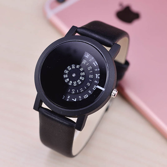 Fashion Women Men Quartz Watch Lovers Couple PU Leather Wristwatch Simple Turnta