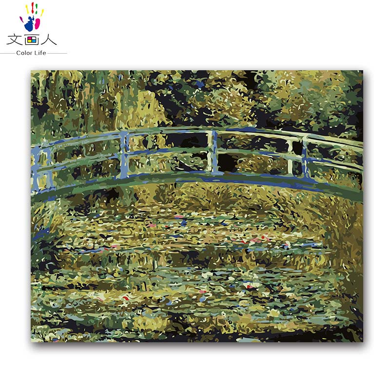 Japanese Bridge Monet Water Lilies pictures painting by numbers Scenery canvas drawing coloring by numbers with kits package