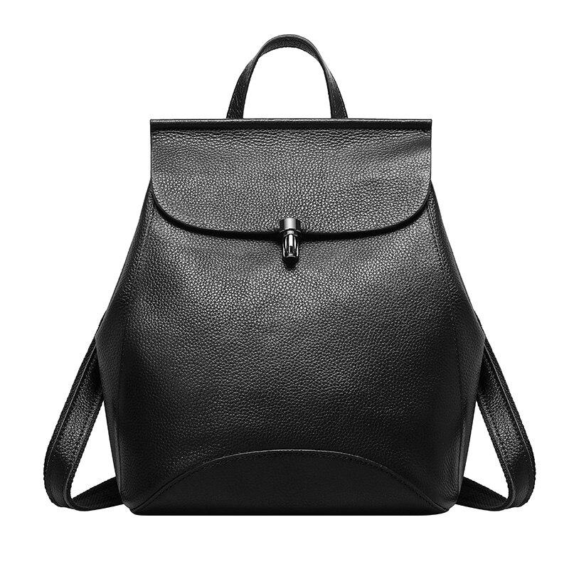 ФОТО Genuine Leather Backpack Woman Brand Designer Black Vintage Ladies Back Bag Stylish High Quality Backpacks Mochilas Escolares