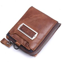 2016 New Style Men Wallets Clutch Coin Purse Vintage Zipper Genuine Leather Wallet Holder Zipper portafogli uomo