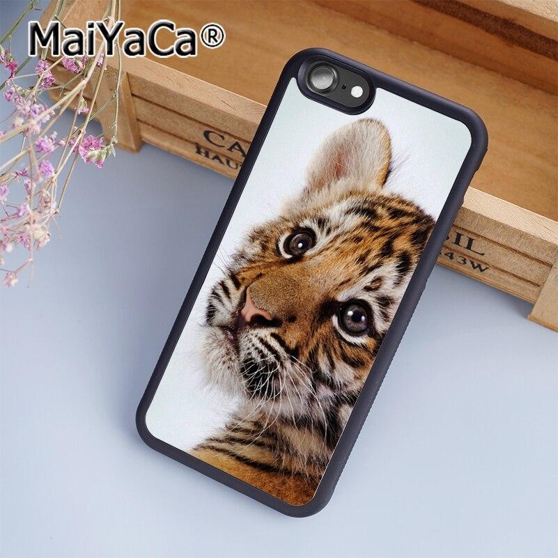 MaiYaCa Lion Cub Tiger Cute Big Cat Print Soft TPU Mobile Phone Case Funda For iPhone 7 Back Cover Skin Shell