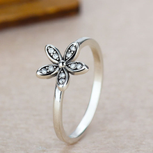 Silver Color White Flower Poetic Daisy Cherry Blossom Finger Brand Rings for Women Engagement Fashion Jewelry