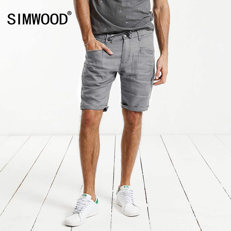 SIMWOOD 2018 Summer New Shorts Men 100% Pure Linen Thin Breathable Knee Length Slim Fit Plus Size Brand Clothing KD5066