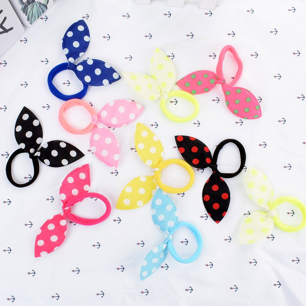 10Pcs Candy color Korean Cloth Elastic Hair Rubber Bands Woman Girls Bowknot Hair Tie Rope Headwear Accessories
