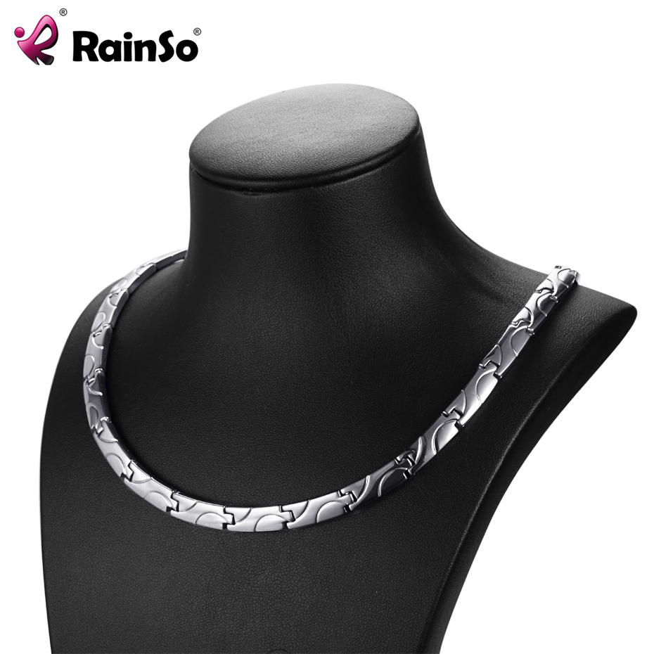 RainSo Bio Energy Magnetic Necklace 2019 Fashion Healing Titanium Power Necklaces Classic Link Chain For Women Health Jewelry