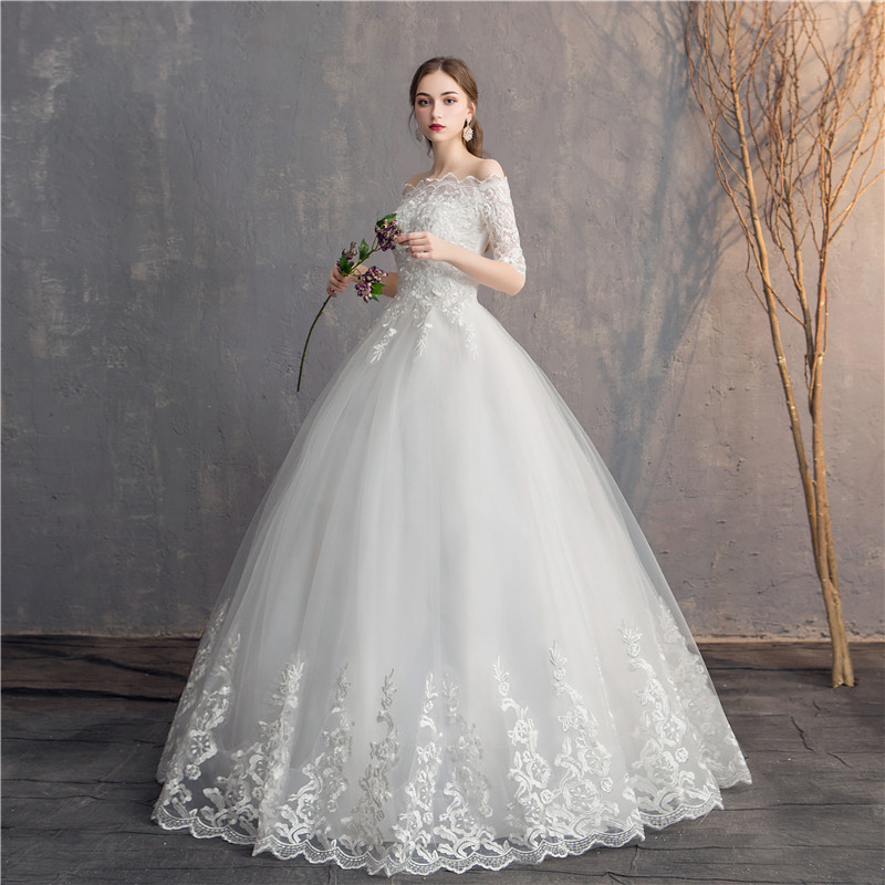 Image 2 - Do Dower Half Sleeve Vintage Wedding Dresses 2019 Off Should Embroidery Vestidos De Noivas Plus Size Bridal Ball Gowns-in Wedding Dresses from Weddings & Events