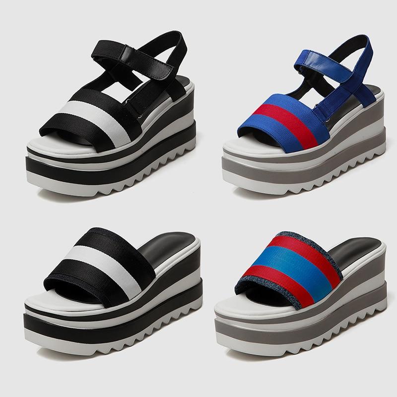 DoraTasia 2019 New Brand Summer Platform Sandals Shoes Women Leisure Wedge High Heels Casual Women Beach Shoes Woman