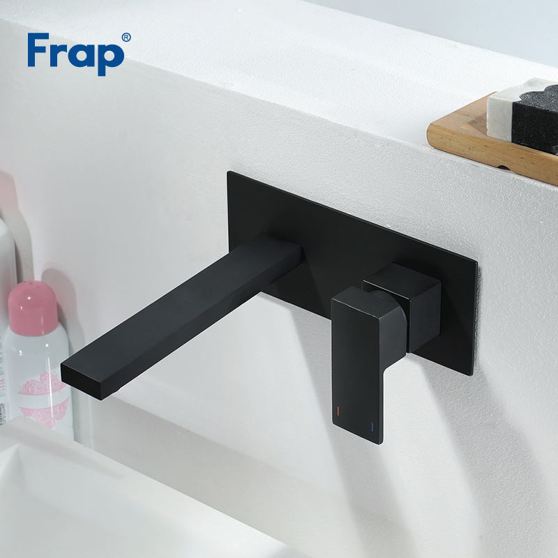 Frap High Quality Basin Faucet Wall Mounted Tap Single Handle Bathroom Water Mixer Tap Hot Cold Sink Faucet Matte Black Y10167Frap High Quality Basin Faucet Wall Mounted Tap Single Handle Bathroom Water Mixer Tap Hot Cold Sink Faucet Matte Black Y10167