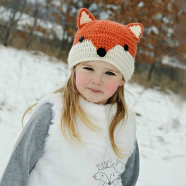 82955b9cf9a Kids Winter Hats Cute Fox Wool Knitted Hats Girls Boys Crochet Beanie  Cartoon Character Brown Fox Flexible Caps for Autumn